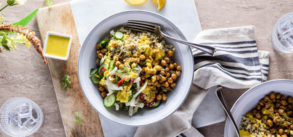 Quinoa Power Bowl with Fennel Slaw & Turmeric Almond Sauce