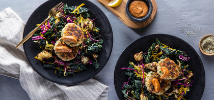 White Bean Hemp Cakes with Kale Slaw & Cajun Mayo