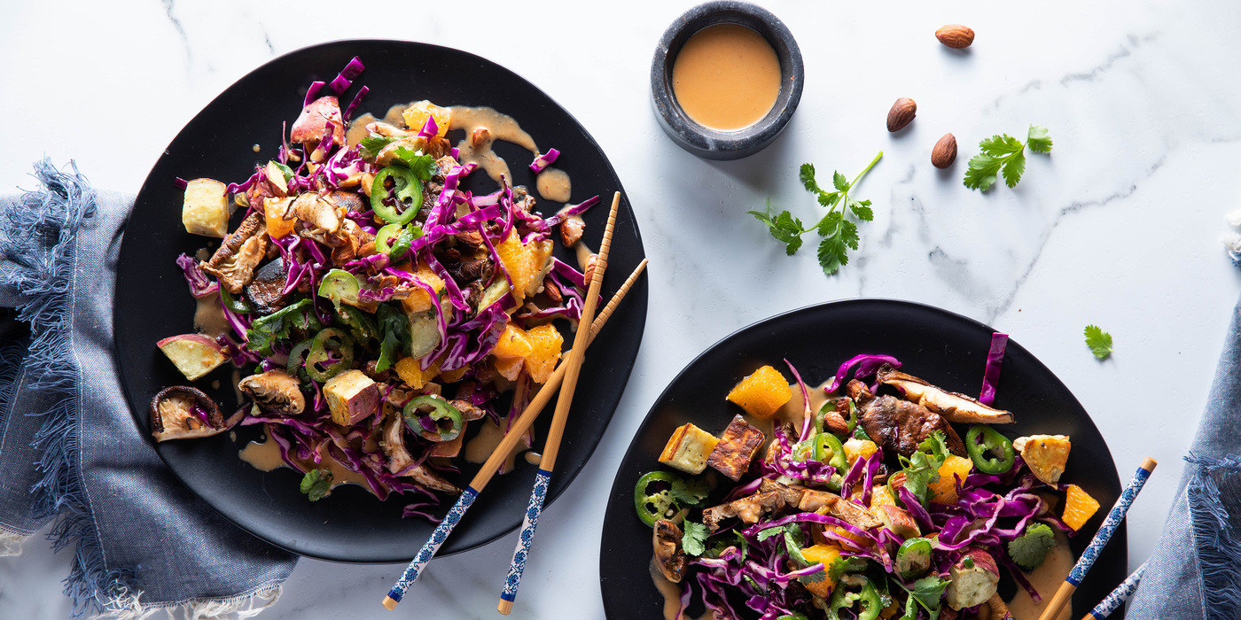 Warm Japanese Yam & Shiitake Salad with Orange & Spicy Peanut Dressing