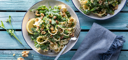 Mafaldine Pasta with Melted Leeks & Garlic Herb Cashew Cream