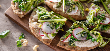 White Bean Hummus Flatbread with Cashew Pesto & Shaved Asparagus