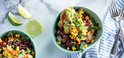 Burrito Bowls with Brown Rice & Guacamole