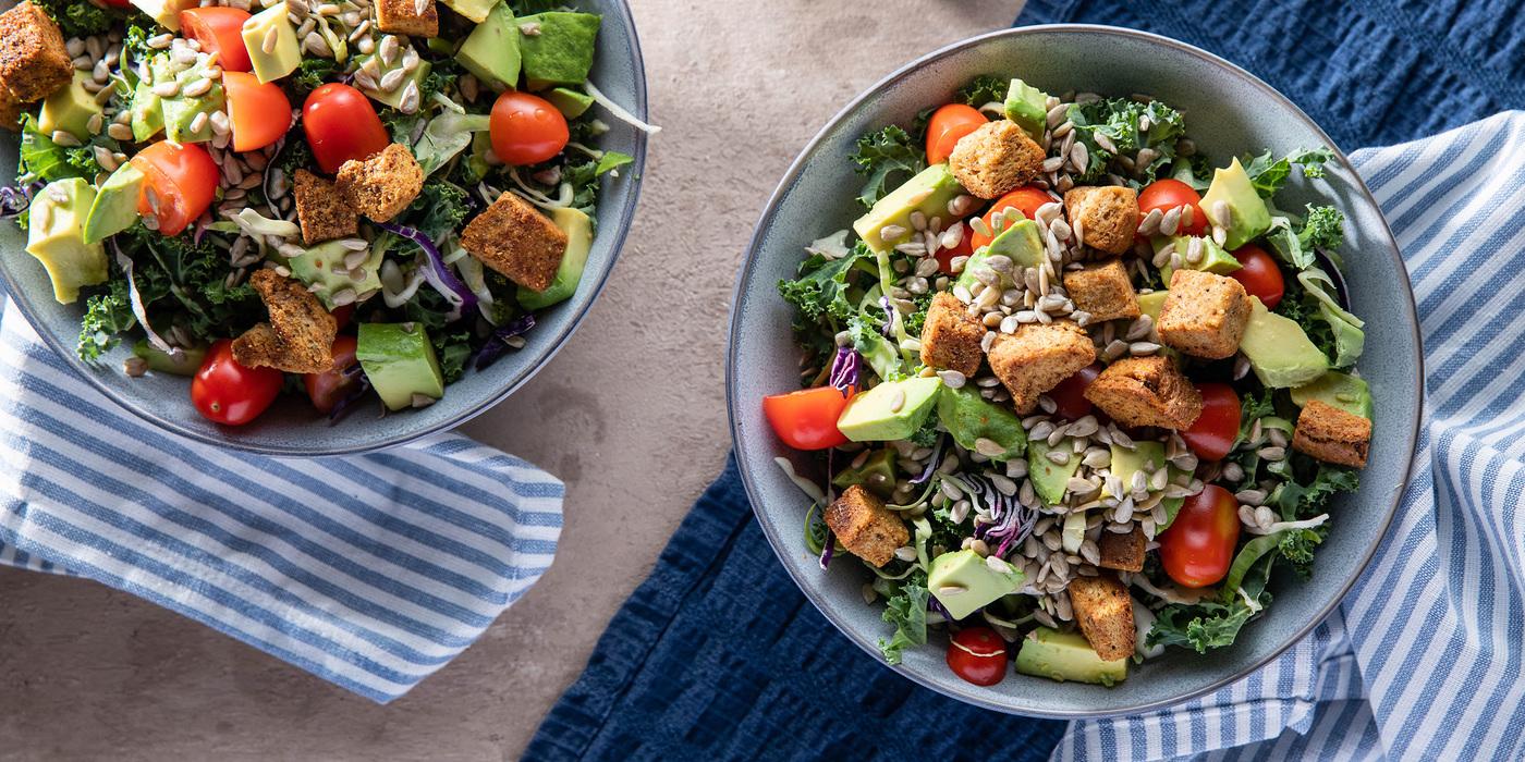 Thai Kale Chopped Salads with Avocado & Peanut Dressing