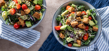 Thai Kale Chopped Salads with Avocado & Peanut Dressing