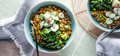 Curried Chickpea Bowl with Millet Pilaf & Spicy Yogurt Cucumbers