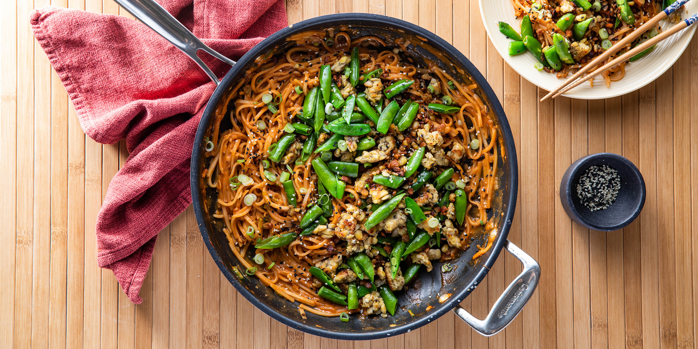 Gochujang Peanut Noodles with Tempeh & Snap Peas