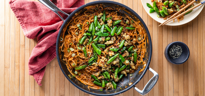 Gochujang Peanut Noodles with Tempeh & Snap Peas