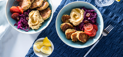 Falafel Bowl with Lemon Hummus & Crunchy Date Slaw