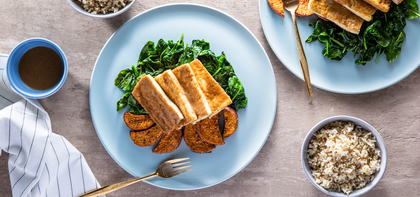 Hoisin Tofu Steaks with Sesame Spinach & Sweet Potato