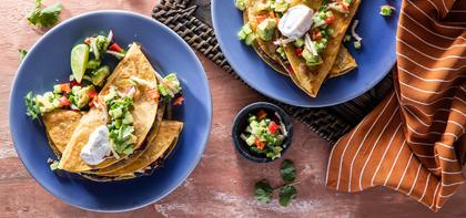 Black Bean Quesadilla with Peppadew Avocado Salsa & Sour Cream