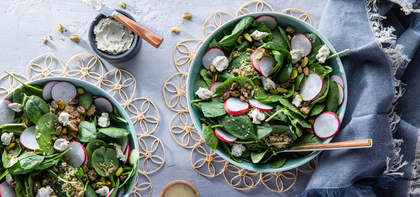 Spring Salads with Pistachios & Scallion Cashew Cheese