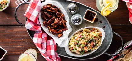 Barbecue Seitan with Fusilli Pasta Salad
