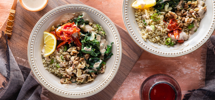 Greens & Grains Bowl with Swiss Chard & Lemon Tahini