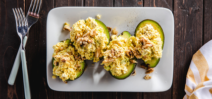 Stuffed Avocados with Tofu Egg Salad & Crispy Onions