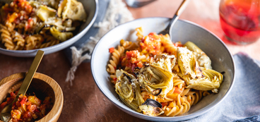 Fusilli Pasta with Crispy Artichoke Hearts & Charred Pepper Ragout