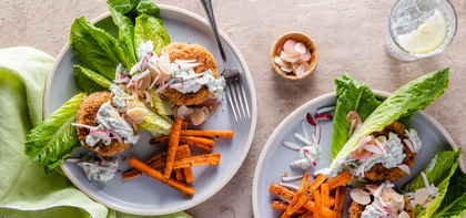 Tandoori Chickpea Burgers with Pickled Garlic & Carrot Fries