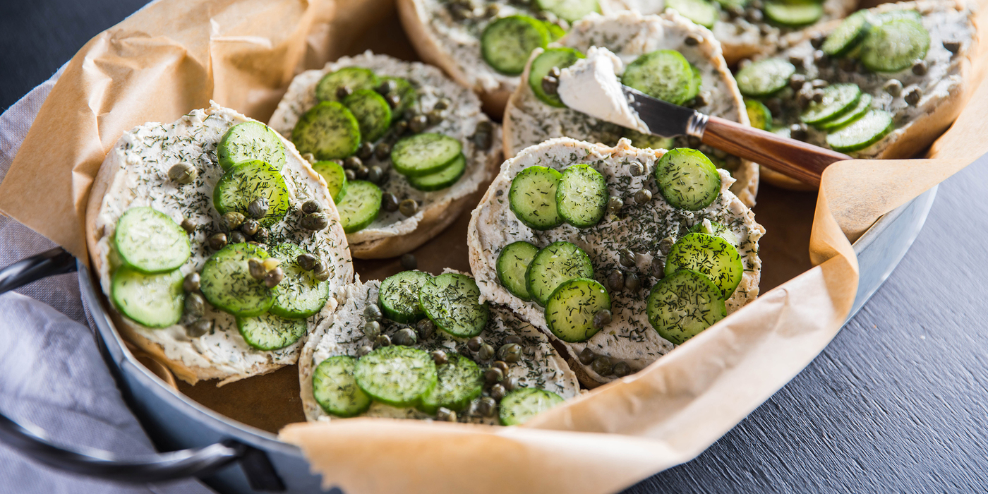 Caper Dill Toasts with Scallion Cashew Cheese