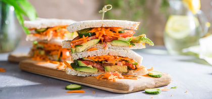 Veggie Avocado Sandwiches with Shredded Carrots & Dijon Mustard