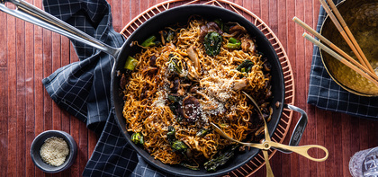 Yakisoba Noodles with Gai Lan & Wild Mushrooms