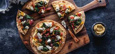 Mediterranean Flatbread with Apricot & Scallion Cashew Cheese