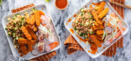 Baked Buffalo Tempeh with Farro & Carrot Celery Slaw