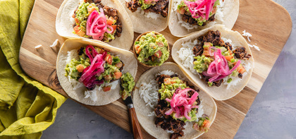 Cuban-Style Black Bean Tacos with Pickled Onions & Guacamole