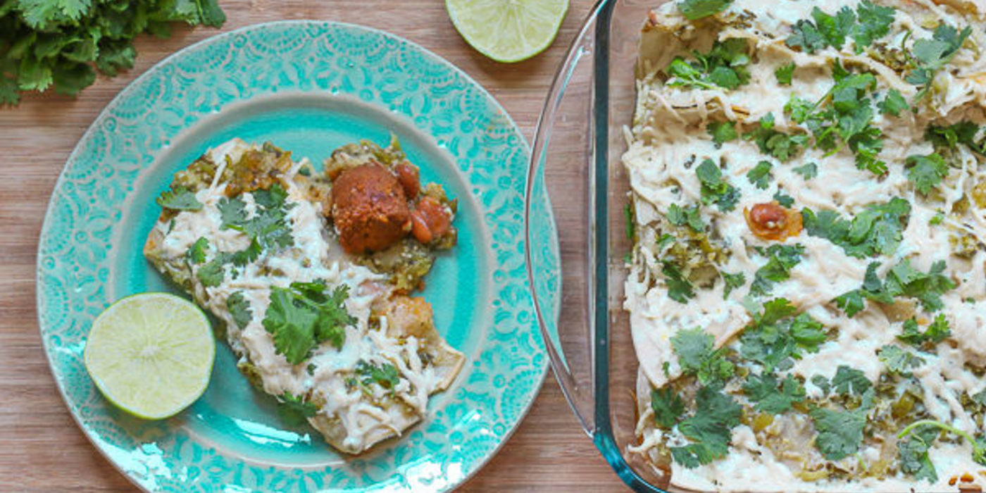 Chorizo Enchiladas with Salsa Verde