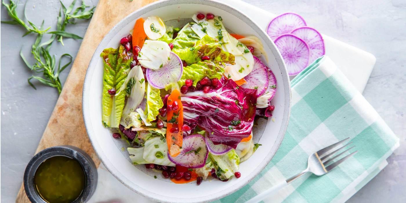 Crunchy Winter Vegetable Salad with Pomegranate & Tarragon Vinaigrette