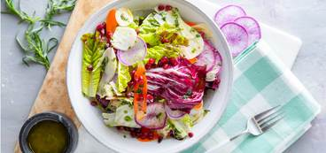 Crunchy Winter Vegetable Salad with Pomegranate & Tarragon Vinaigrette