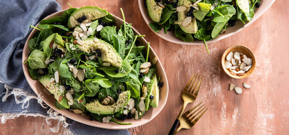 Spinach Salads with Dried Blueberries & Avocado