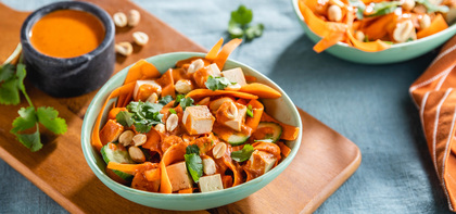 Red Curry Carrot Noodle Bowls with Baked Tofu & Fresh Cilantro
