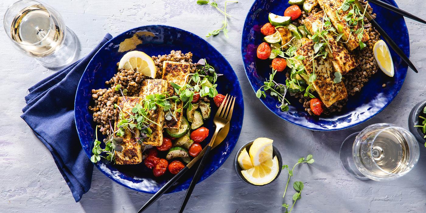 Tofu Halloumi with Dijon Lentils & Charred Summer Vegetables