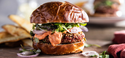 Beet Burgers with Smoky Tomato Aioli & Potato Wedges
