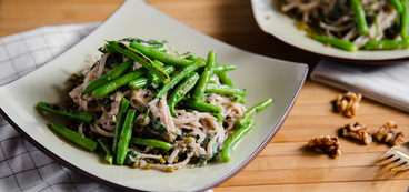 Rice Noodles with Miso Walnut Sauce & Charred Green Beans