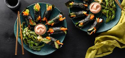 Temaki Sushi with Avocado & Sesame Edamame
