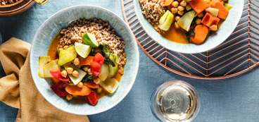 Chickpea Massaman Curry with Farro & Baby Bok Choy
