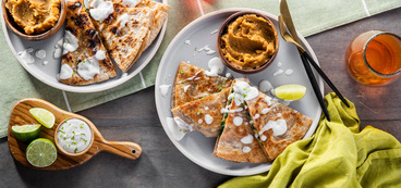 Red & Green Quesadillas with Refried Lentils & Lime Crema
