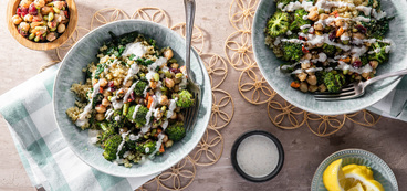 Chickpea Quinoa Bowl with Roasted Broccoli & Creamy Almond Dressing