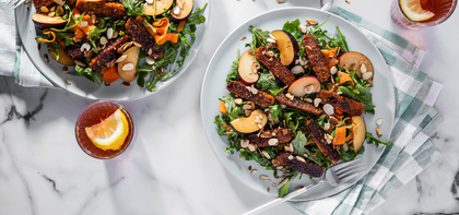 Tahini Rainbow Salads with Tempeh Bacon & Fresh Plum
