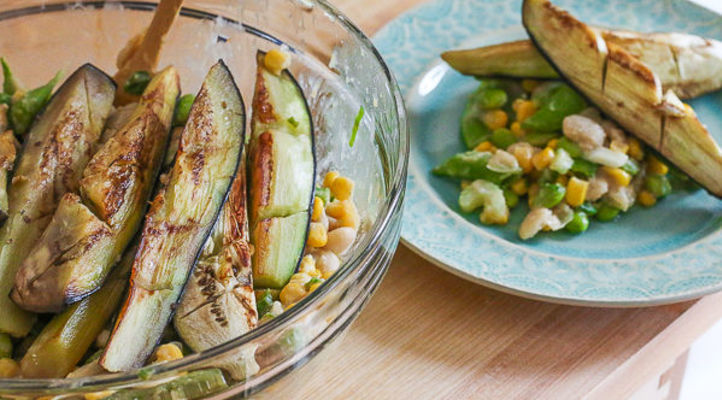 Seared Eggplant with Miso-Succotash Salad