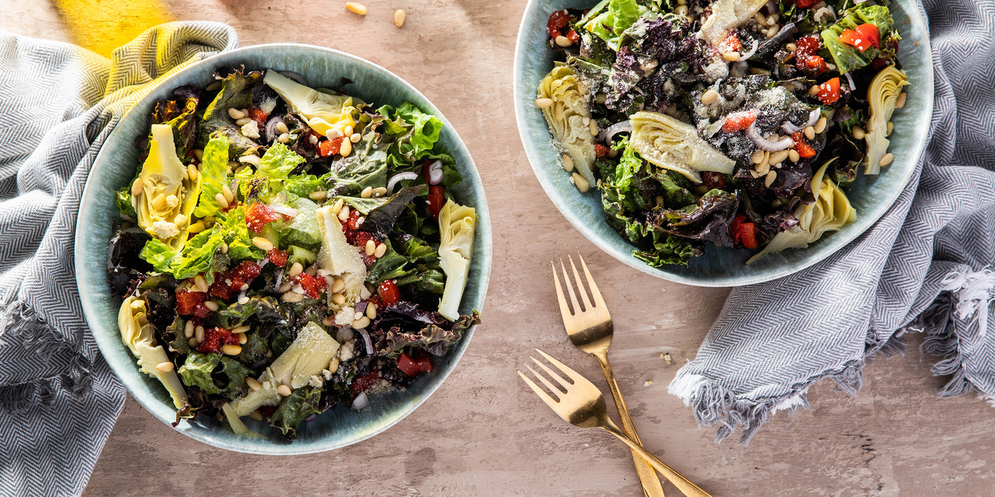 Antipasto Salad with Pine Nuts & Vegan Parmesan