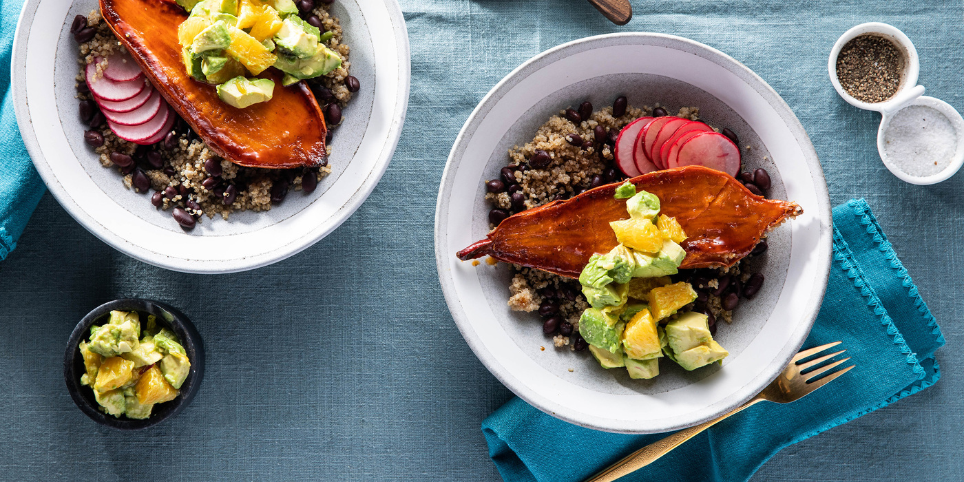 Mojo Sweet Potato Bowls with Black Bean Quinoa & Citrus Avocado Salsa