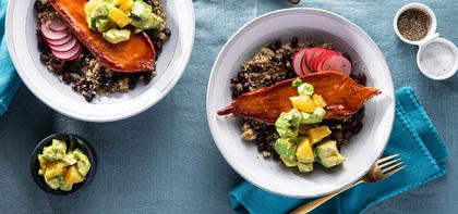 Mojo Sweet Potato Bowls with Black Bean Quinoa & Citrus Avocado Salsa