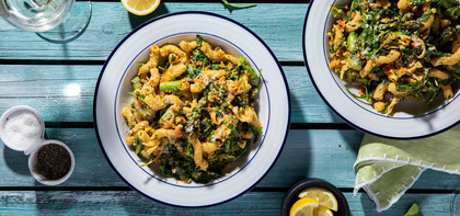 Carrot Pesto Cavatappi with Arugula & Asparagus