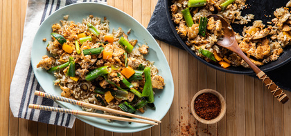 Ginger Fried Rice with Kimchi Tofu & Charred Scallions