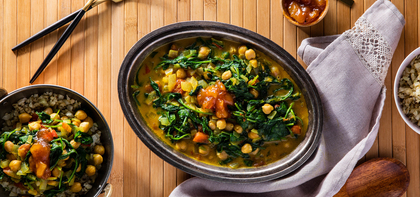 Chickpea Saag with Cumin Cauliflower Rice & Mango Chutney