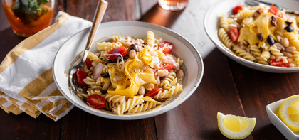 Creamy Tahini Fusilli with Yellow Squash & Kalamata Olives