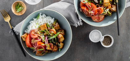 Filipino Tofu Adobo with Green Beans & Tomato Salad