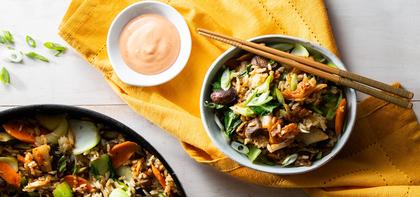 Kimchi Mushroom Fried Rice with Bok Choy & Sriracha Drizzle