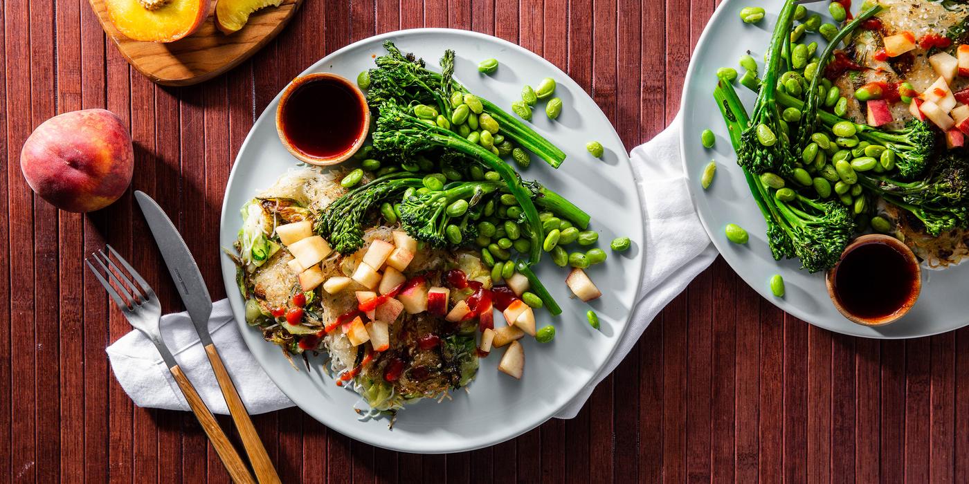 Scallion Noodle Cakes with Crispy Broccolini & Tamarind Sauce